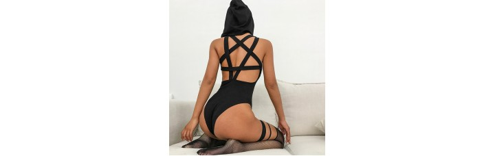 Hooded Bodycon With Straps Star Shaped On The Back