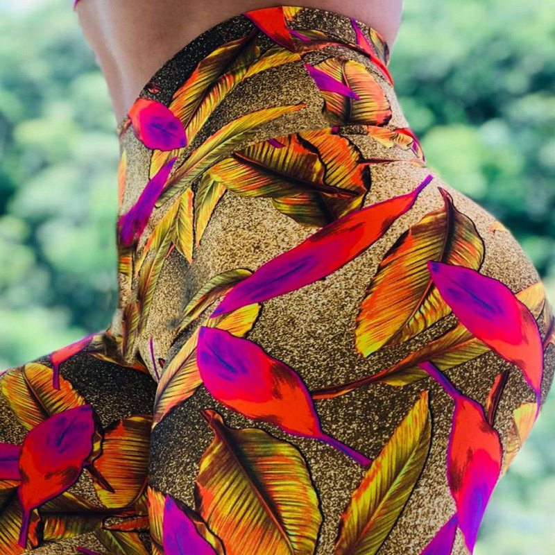 Golden Leggings With Colourful Leaves