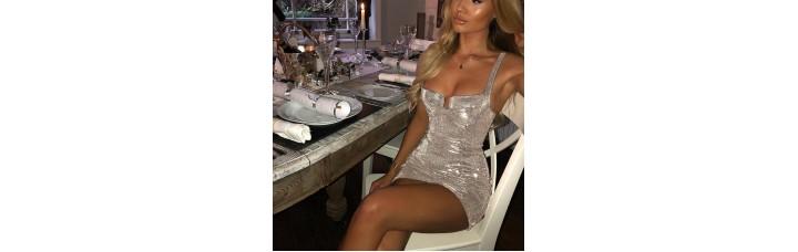 Shiny Sexy Bodycon Mini Dress