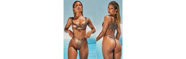 Shinny Bikini With Bust and String
