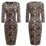 Elegant Geom-leopard pencil dress Chic Formal